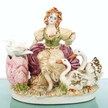 Capodimonte Figurine Large Xl Italian Vintage Italy Lady Girl Porcelain Unglazed - $206.91
