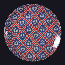 Taste Setter Blue Hearts Red Stripes Porcelain Plate TSA3 - $19.99