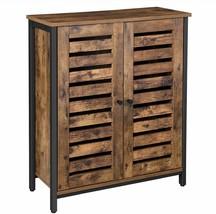 Industrial Style Metal & Rustic Wood Look Cabinet w/ Shelves & Louver Doors - £140.83 GBP