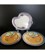 3 Vintage Lusterware Plates Cake Luncheon Tid Bit Made in Japan Floral D... - $21.99