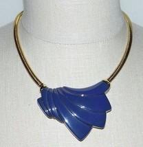 VTG TRIFARI Modernist Abstract Art Deco Gold Tone Purple Lucite Choker NWT - $99.00