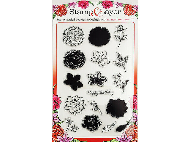 Immediate Media Company Stamp & Layer Peonies & Orchids Stamp Set #151216