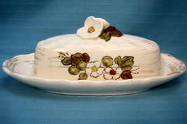 Butter Dish Covered Metlox Vernon Ware California Pottery White Dogwood ... - $22.50