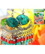 Vintage Southwestern Turquoise Silver Tribal Dangle Earrings Handmade - $17.95