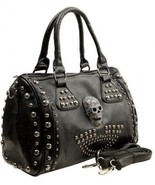MG Collection Howea Gothic Studded Doctor Shoulder Bag, Black, One Size - $114.39