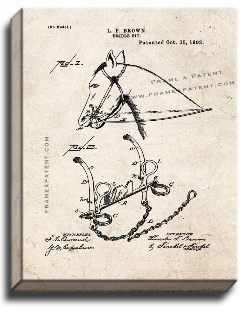 Primary image for Bridle Bit Patent Print Old Look on Canvas