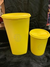 Vtg Tupperware Set Lot Yellow Servalier Canisters  811 5 & 1222 5 w/ Lid... - $9.99