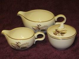 Creamer & Sugar Gravy Bowl Set 4 pc Autum Fall Leaf Pattern Vintage - $17.82