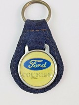 Vintage Ford Courier Leather Keychain Key Ring FOB Blue - $16.45