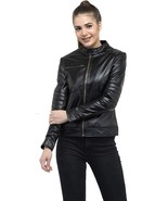 Womens Collared Solid Bikers Color Black Lambskin Soft Ladies Jacket-LD-10 - $130.00+
