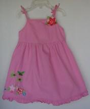 GYMBOREE Pink Summer Spring Dress Spaghetti Straps Floral Embellishment 2T - $7.91