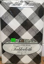 "PEVA Vinyl Tablecloth 52"" x 52"" Square (4 ppl) BLACK, GREY & WHITE CHECK... - $11.87"