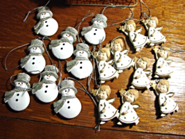 "Christmas Mini 2"" ceramic  Ornaments-17 pc-Snowman & Angels - $9.00"
