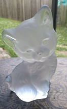 """Vintage Viking Glass Clear Frosted Kitten Kitty Cat Paperweight Figurine 6.5""""  - $21.99"""