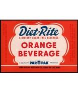 Vintage soda pop bottle label DIET RITE ORANGE Par T Pak Nehi Fond Du La... - $8.99