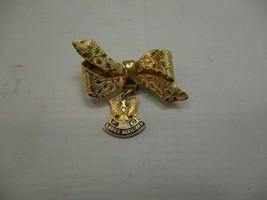 VTG FOE Ladies Auxiliary Bow Brooch Pin Gold Tone Eagle W/Diamond - $14.93
