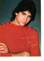 John Stamos teen magazine pinup clipping red shirt crossed arms serious look