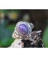 925 Silver, Sugilite, Gemstone, Bali,Poison,Locket Ring LR-786 - $22.99