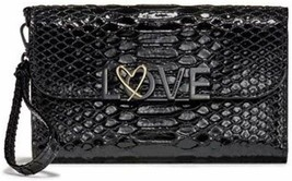 Victoria's Secret Love Tech Wallet Clutch Black Python NWT - £32.01 GBP