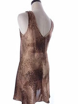 Vintage Brown Satin Animal Print Chemise Pajama Dress Expressions Size Medium image 3