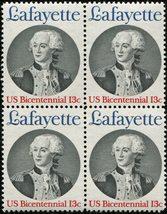 1977 Marquis de Lafayette Block of 4 US Postage Stamps Catalog 1716 MNH