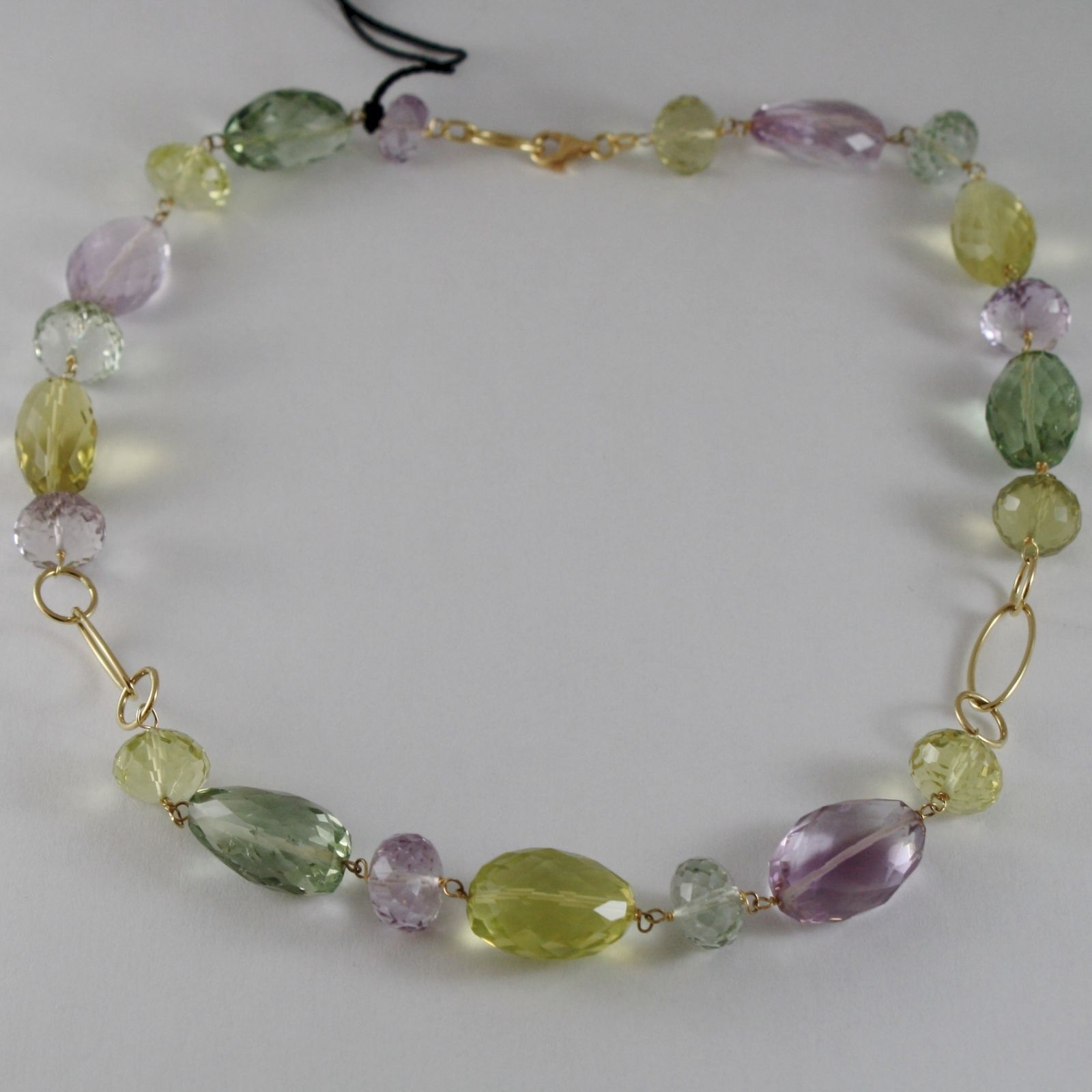 18K YELLOW GOLD NECKLACE BIG CUSHION AMETHYST LEMON QUARTZ PRASIOLITE ITALY MADE