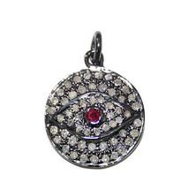 Tourmaline .925 Sterling Silver Real Diamond Pave EVIL EYE Charm Pendant... - $201.03