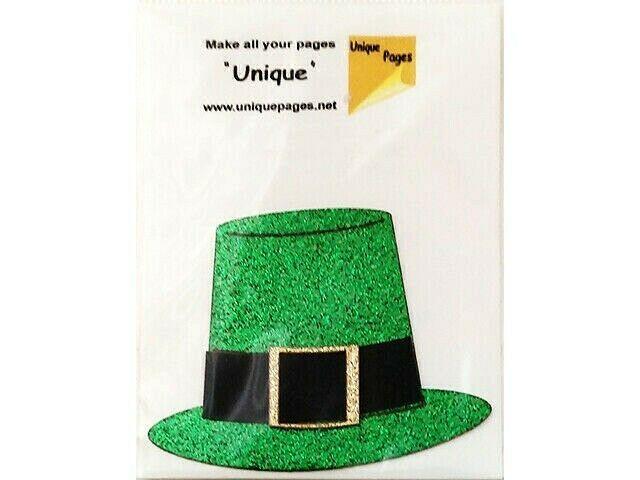 Unique Pages Diecut Paper Leprechaun Hat, Green Glitter #15004A