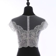 Illusion Neckline Lace Tank Tops Sleeveless Embroidery Lace Bridesmaid Tank Tops image 2