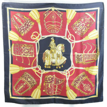 "HERMES Scarf ""LES MUSEROLLES"""" Black 100% Silk Auth 6933 - £226.68 GBP"