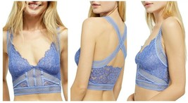 Free People Intimately Sitting Pretty Brami Lace Bralette Small Blue $48... - $23.99