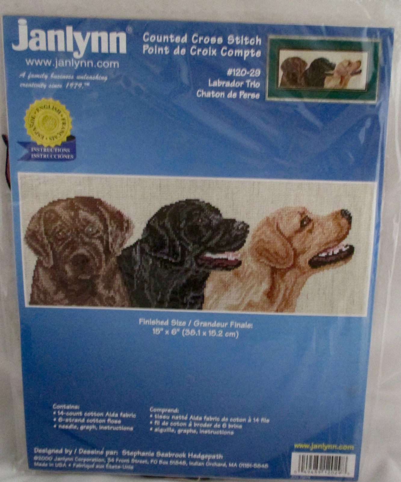 Counted Cross Stitch Labrador Trio Kit Janlynn New in Package #120-29 2000