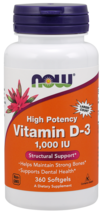 Vitamin D3 1000 IU Now Foods 360 Softgel - dietary supplement - $14.00
