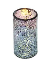 "6 Silver Flameless Wax LED Pillar Candles in Glass Mosiac Holders 3"" x 6"" - $138.59"