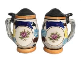 Vintage Porcelain Beer Stein Figural Salt Pepper Shakers - $16.82