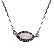 Marquise Shape Moonstone & Black Spinel Stone Evil Eye Necklace Chain 92... - $19.68