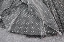 Black Polka Dot Tulle Skirt High Waisted Black Tulle Midi Skirt Outfit image 8