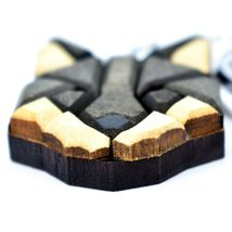 """Northwoods Wood Marquetry Wolf Head Bust 1.75"""" Keychain image 3"""