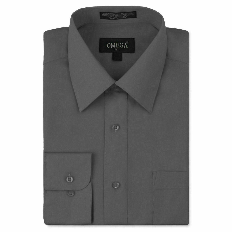 Omega Italy Men Charcoal Classic Fit Standard Cuff Solid Dress Shirt - 5XL