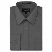 Omega Italy Men Charcoal Classic Fit Standard Cuff Solid Dress Shirt - 5XL image 1