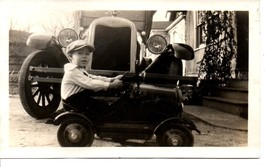 Small Snapshot from 1927 of Boy in Peddlecar with Chevrolet in Background - $7.70