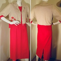 Coldwater Creek Career Formal Dress with Jacket Red/Beige Size P14 - $29.99