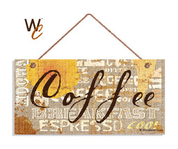 Coffee Sign, Grunge Burlap Style Background, Rustic 5x10 Cafe Sign, Coff... - $11.39