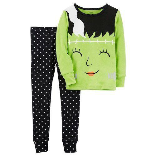 carter's  toddler girl 2pc frankenstein top & polka-dot pants pajama set size 4T