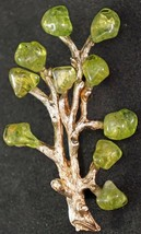 Gold Tone Tree Brooch with Green Peridot Stones Neat Pin - $19.99