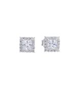 Solid 925 Sterling Silver Earrings Women Fashion Stud Halo Earring - $41.99