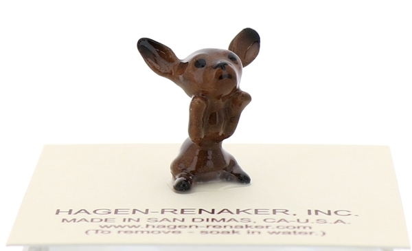 Hagen-Renaker Miniature Ceramic Dog Figurine Chihuahua Tiny Pup Begging Black