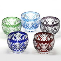 Edo Kiriko Guinommi Ochoko Japanese glass Sake cup  set of 5 Made in Japan - $558.85
