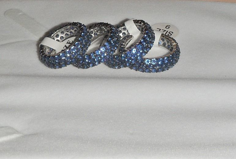 Pave Blue Sapphire Round Cubic Zirconia Sterling Silver Band Ring-Vermeil-925