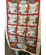 1974 Calendar Tea Towel Birth Stones & Flowers - $5.89